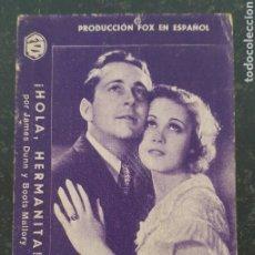 Cine: HOLA HERMANITA - 1935 - CINEMA MODERN MATARÓ. Lote 295753773
