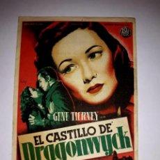 Cine: FOLLETO EL CASTILLO DE DRAGONWYCK ( GENE TIERNEY ) 1946 PUBLICIDAD AL DORSO. Lote 295840283