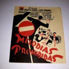 Cine: FOLLETO DOBLE MELODIAS PROHIBIDAS 1942 PUBLICIDAD AL DORSO. Lote 295842373
