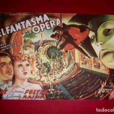 Cine: FOLLETO GRAN TAMAÑO EL FANTASMA DE LA OPERA 1943 PUBLICIDAD AL DORSO. Lote 295990648