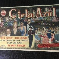 Cine: CIELO AZUL - PROGRAMA DE CINE BADALONA C/P 1952 - PATO DONALD DE WALT DISNEY EN REVERSO. Lote 296016178