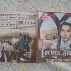 Cine: AURORA BAUTISTAPROGRAMA DE MANO DOBLE DE LA PELÍCULA LOCURA DE AMOR..... Lote 296581433
