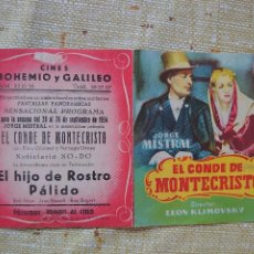 Cine: JORGE MISTRAL PROGRAMA DE MANO DOBLE DE LA PELÍCULA EL CONDE DE MONTECRISTO..... Lote 296582578