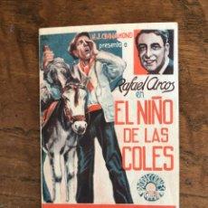Cine: PROGRAMA DE CINE DOBLE, EL NIÑO DE LAS COLES, RAFAEL ARCOS. Lote 296630003