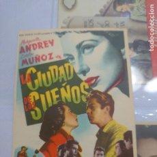 Cine: MARGARITA ANDREY PROGRAMA DE MANO DE LA PELÍCULA LA CIUDAD DE LOS SUEÑOS......... Lote 296728033