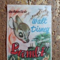 Cine: FOLLETO DE MANO DE LA PELICULA BAMBY CON PUBLICIDAD. Lote 296769673