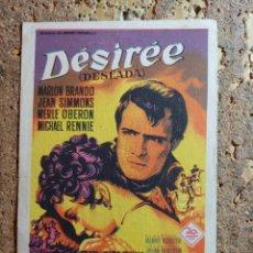 Foglietti di film di film antichi di cinema: FOLLETO DE MANO DE LA PELICULA DESIREE CON PUBLICIDAD. Lote 296769898