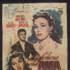 Foglietti di film di film antichi di cinema: P-2104- SEÑORA AMA (CINE PRINCIPAL - LOMAS DEL ALBUJON - CARTAGENA) DOLORES DEL RIO - JOSÉ SUÁREZ. Lote 296870838