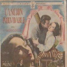 Cine: PROGRAMA DE MANO. CANCIÓN INOLVIDABLE. PC-4881. Lote 297086943