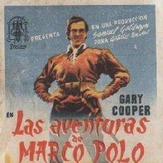 Cine: PROGRAMA DE MANO. LAS AVENTURAS DE MARCO POLO. PC-4884. Lote 297088028
