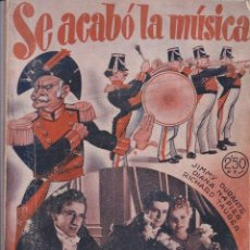 Cine: NOVELA CINEMATOGRÁFICA: SE ACABÓ LA MÚSICA.1943 - CINE. Lote 20012707