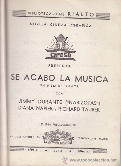 Cine: NOVELA CINEMATOGRÁFICA: SE ACABÓ LA MÚSICA.1943 - CINE - Foto 2 - 20012707