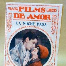 Cine: FILMS DE AMOR, LA NOCHE PASA, Nº 185, NOVELA CINEMATOGRAFICA, CINE, BIBLIOTECA FILMS, BARCELONA. Lote 24021601