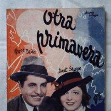 Cine: OTRA PRIMAVERA - EDICIONES BISTAGNE EDICIONES ESPECIALES - CON WARNER BAXTER - 72 PAG.. Lote 29535634