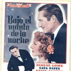 Cine: BAJO EL MANTO DE LA NOCHE- EDMUND LOWE, SARA HADEN, HENRY DANIELL (EDITORIAL ALAS). Lote 31185265