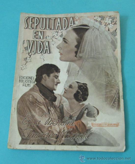 SEPULTADA EN VIDA. PORTADA ELSA MERLINI. EDICIONES BIBLIOTECA FILMS Nº 227 (Cine - Foto-Films y Cine-Novelas)