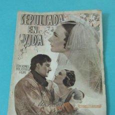 Cine: SEPULTADA EN VIDA. PORTADA ELSA MERLINI. EDICIONES BIBLIOTECA FILMS Nº 227. Lote 31541588