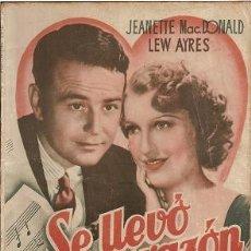 Cine: SE LLEVÓ MI CORAZÓN. JEANETTE MAC.DONALD. LEW AYRES. PUBLICACIONES CINEMA. Lote 31547530