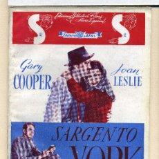 Cine: SARGENTO YORK, CON GARY COOPER. NOVELILLA.. Lote 35560275