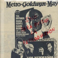 Cine: LOS HERMANOS KARAMAZOV 1959 YUL BRYNNER HOJA REVISTA. Lote 39576753