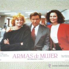 Cine: ARMAS DE MUJER, HARRISON FORD, MELANIE GRIFFITH, SIGOURNEY WEAVER, 7 FOTOCROMOS, LOBBY CARDS. Lote 40085286