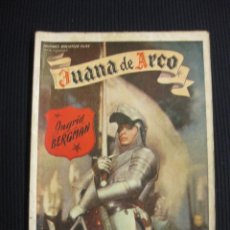 Cine: JUANA DE ARCO. ARGUMENTO NOVELADO CON FOTOS DEL FILME. EDICIONES BIBLIOTECA FILMS SERIE ESPECIAL. . Lote 42303477