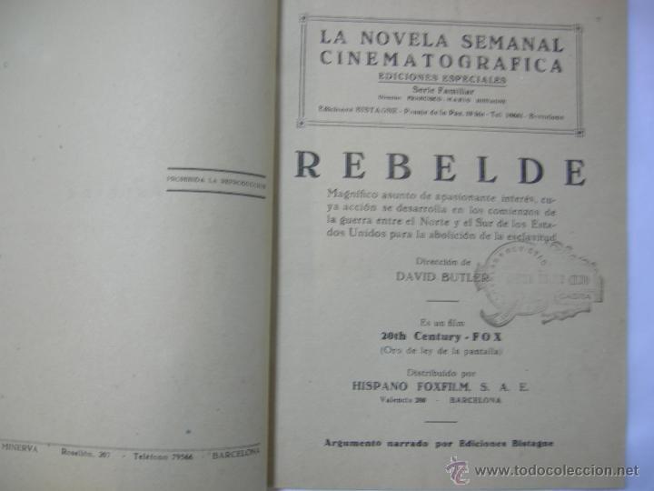 Cine: REBELDE SHIRLEY TEMPLE - LA NOVELA SEMANAL CINEMATOGRAFICA - 1930/1940 - 1ª EDICION, ED. BISTAGNE, - Foto 3 - 42484314