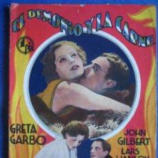 Cine: EL DEMONIO Y LA CARNE. LA NOVELA SEMANAL CINEMATOGRÁFICA. GRETA GARBO. JOHN GILBERT. Lote 47035469