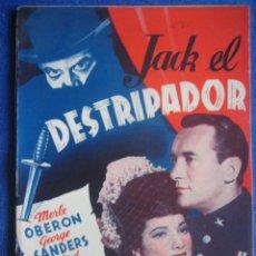 Cine: JACK EL DESTRIPADOR. BISTAGNE. GEORGE SANDERS. MERLE OBERON. Lote 47035524