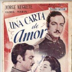 Cinéma: UNA CARTA DE AMOR - JORGE NEGRETE, GLORIA MARÍN - EDICIONES BIBLOTECA FILMS. Lote 47426448