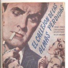 Cine: NOVELA EL CALLEJÓN DE LAS ALMAS PERDIDAS – ED. BISTAGNE – TYRONE POWER-JOAN BLONDELL-COLEEN GRAY. Lote 47783034