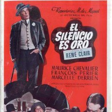 Cine: MAURICE CHEVALIER : EL SILENCIO ES ORO. Lote 48264928
