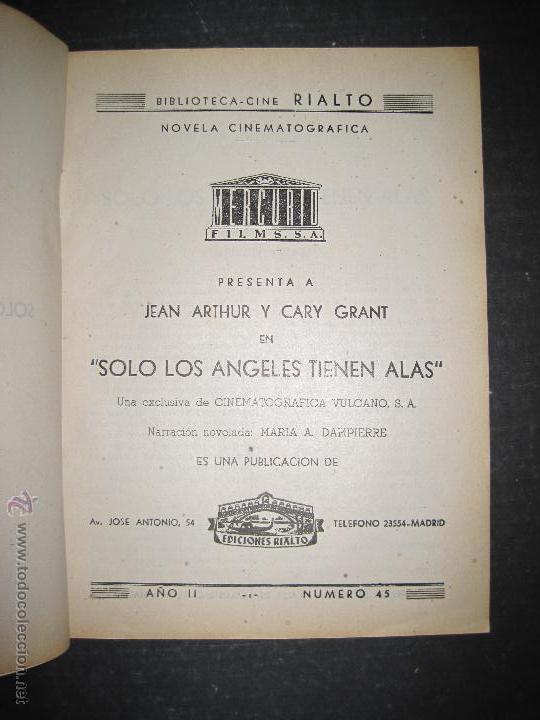 Cine: SOLO LOS ANGELES TIENEN ALAS - CARY GRANT - JEAN ARTHUR - EDICIONES RIALTO - VER FOTOS - Foto 2 - 48287165
