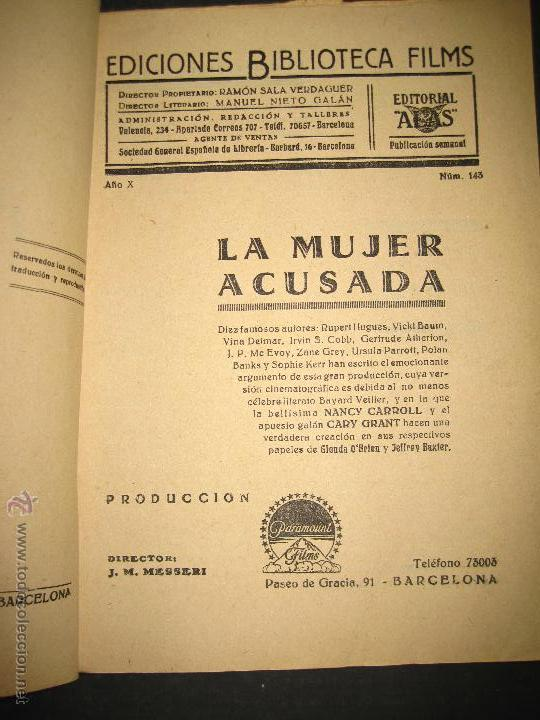 Cine: LA MUJER ACUSADA - CARY GRANT - NANCY CARROLL - EDITORIAL ALAS - VER FOTOS - Foto 2 - 48287726