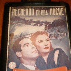 Cine: BIBLIOTECA FILMS NOVELA RECUERDO DE UNA NOCHE. Lote 49170836