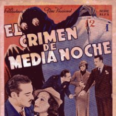 Cine: BIBLIOTECA FILMS: EL CRIMEN DE MEDIANOCHE - RAMON PEREDA&JUAN TORENA ED.ALAS. Lote 50081019