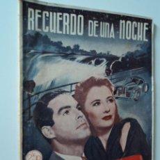 Cine: BIBLIOTECA FILMS NOVELA RECUERDO DE UNA NOCHE BARBARA STANWYCK FRED MACMURRAY. Lote 51084966