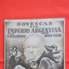 Cine: GOYESCAS, IMPERIO ARGENTINA, NOVELA EDICIONES RIALTO Nº5, 1942. Lote 51089576