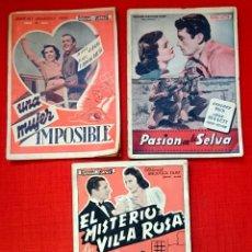 Cine: LOTE 3 NOVELAS CINE-ED ALAS -PASIÓN EN LA SELVA/UNA MUJER IMPOSIBLE/EL MISTERIO DE VILLA ROSA 1930. Lote 54723527