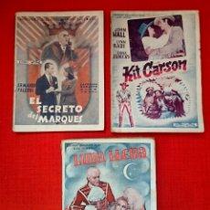 Cine: LOTE DE 3 NOVELAS CINE-ED ALAS KIT CARSON/EL SECRETO DEL MARQUÉS/LUNA LLENA 1930. Lote 54723628