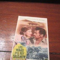 Cine: LAS MINAS DEL REY SALOMON PROGRAMA SENCILLO MGM ESTRENO STEWART GRANGER DEBORAH KERR . Lote 54824729