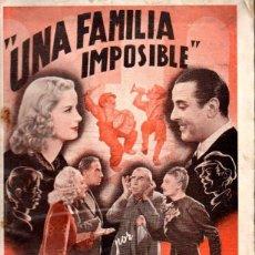 Cine: MARIA MERCADER / ARMANDO FALCONI : UNA FAMILIA IMPOSIBLE (EDICIONES RIALTO, 1943). Lote 60500655