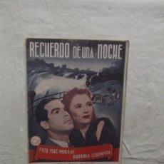 Cine: RECUERDO DE UNA NOCHE CON FRED MAC MURRAY Y BARBARA STANWYCH. Lote 62067008