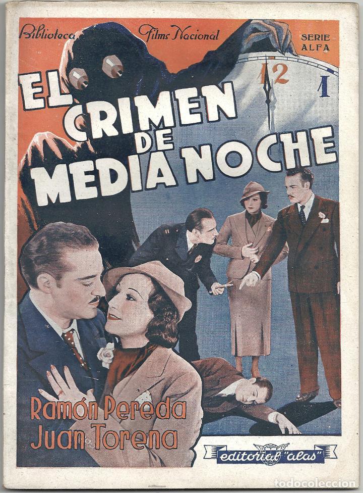 XS24 EL CRIMEN DE MEDIANOCHE RAMON PEREDA JUAN TORENA NOVELA CON FOTOS EDITORIAL ALAS (Cine - Foto-Films y Cine-Novelas)
