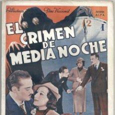 Cine: XS24 EL CRIMEN DE MEDIANOCHE RAMON PEREDA JUAN TORENA NOVELA CON FOTOS EDITORIAL ALAS. Lote 85486144