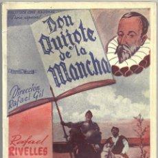 Cine: 2XS36 DON QUIJOTE DE LA MANCHA RAFAEL RIVELLES JUAN CALVO NOVELA CON FOTOS EDITORIAL ALAS. Lote 85497192