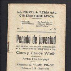 Cine: LA NOVELA CINEMATOGRÁFICA. NÚM 130. PECADO DE JUVENUT. Lote 101126987