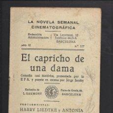 Cine: LA NOVELA CINEMATOGRÁFICA. NÚM 127 EL CAPRICHO DE UNA DAMA. Lote 101127507