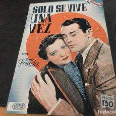 Cine: SOLO SE VIVE UNA VEZ CON HENRY FONDA ALBUM CINEVIDA 24X17 (ED HISPANO AMERICANA) (COI53). Lote 106099295