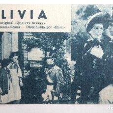 Cinema: OLIVIA, Nº257 CARTON FICHA DE LA PELICULA CON RESUMEN Y ACTORES, ORIGINAL. Lote 120183403